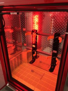 Red compartment lighting with integrated tool and SCBA storage